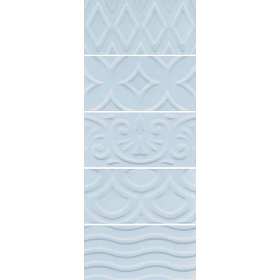 Плитка 16015 Авеллино голубой структура mix 7.4*15