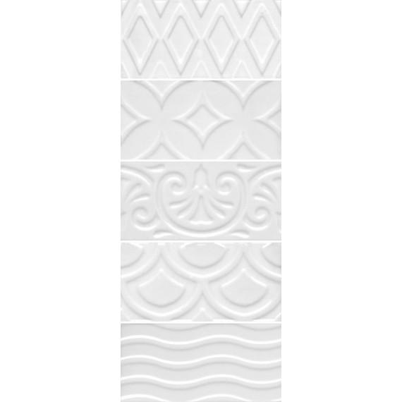 Плитка 16017 Авеллино белый структура mix 7.4*15
